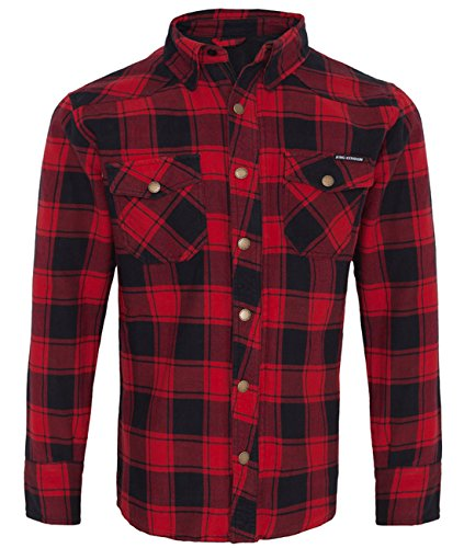 King Kerosin Herren Langarm Biker Hemd Holzfällerhemd mit Kevlar - Speedshirt 2 Rot L