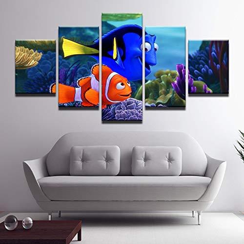 Panel 5 Underwater World Nemo Hauptwanddekor Gemälde Kunst auf Leinwand HD-Druck Malerei Leinwand-Wand-Bild for Hauptdekor Wandmalerei, Leinwand (Color : Frame, Size (Inch) : Size 3)