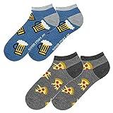 soxo Herren Bunte Sneaker Socken | Größe 40-45 | 2er Pack | Baumwolle Herrensocken mit Lustigen Motiven | Perfekt für Flache Schuhe | Tolle Ergänzung für Ihre Garderobe | Pizza/Beer