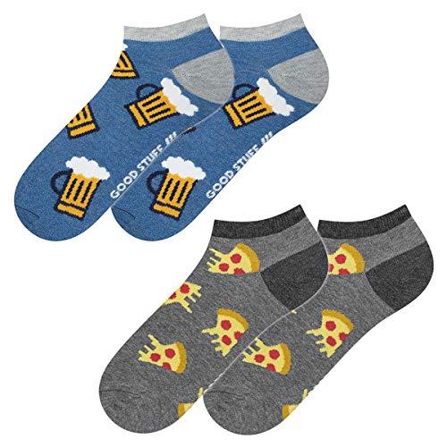 soxo Herren Bunte Sneaker Socken | Größe 40-45 | 2er Pack | Baumwolle Herrensocken mit Lustigen Motiven | Ideal für Flache Schuhe | Tolle Ergänzung für Ihre Garderobe | Pizza/Beer