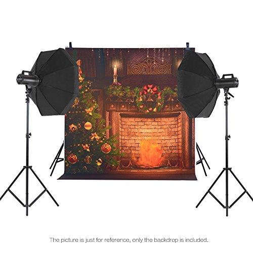Andoer 1.5 * 2m Telón de Fondo de Fotografía Impresión Digital Árbol de Navidad Chimenea Campana Patrón de la Impresión para Foto Estudio