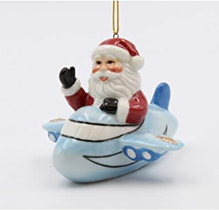 Cosmos Gifts 56551 Santa on Blue Airplane Ornament,