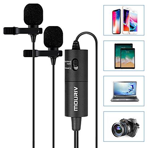 Mouriv Micrófono lavalier de doble cabezal, Micrófono de solapa con clip de manos libres con micrófono omnidireccional de condensador Vocal para iPhone, iPad, Samsung, teléfonos, cámara, DSLR, PC