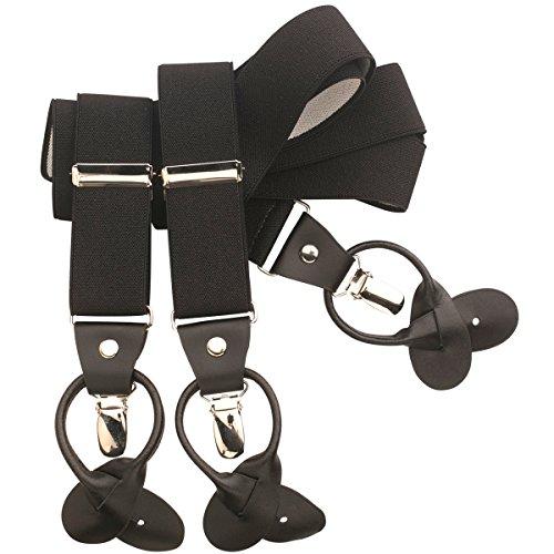LINDENMANN Hosenträger Herren, Y-From mit Kombisytem, 35 mm, Stretch, schwarz, 9507-007, Größe/Size:110, Farbe/Color:schwarz