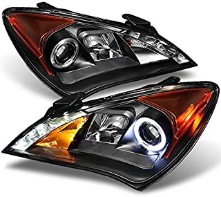 For 2010-2012 Genesis Coupe 2Doors Black Bezel Dual Halo DRL Daylight LED Strip Projector Headlights Replacement