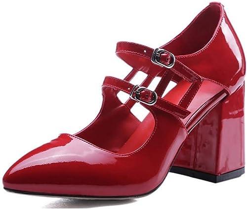 Sandales en Cuir Nappa Spring pour Femmes, Femmes, Femmes, Douces et minimalisme Talons Chunky à Bout Pointu - Blanc Noir Rouge 1d2