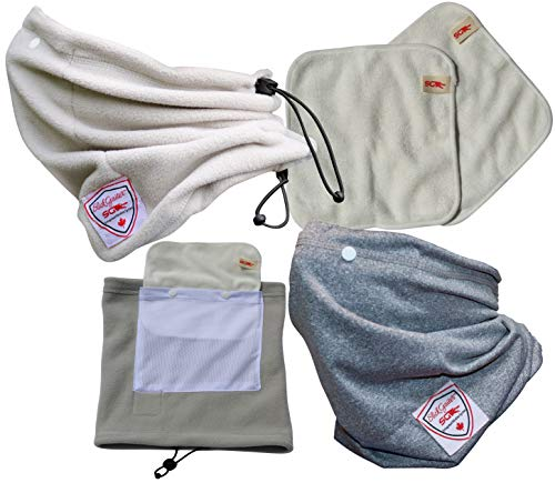 2 Set Slick Gaiter with Reusable Air Filters 1 Fleece Neck Warmer +1 Anti-UV Cooling Neck Gaiter + 2 Washable Bamboo Dust Mask Filters Scarf Bandana Grey