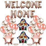 Pancartas Welcome Home Banner Y Globos Bienvenido, Globo de Bienvenida a Casa, WELCOME HOME Banner, Bienvenida a Casa Globo Oro Rosa Decoración para Decoración del Hogar Suministros Fiestas Familiares