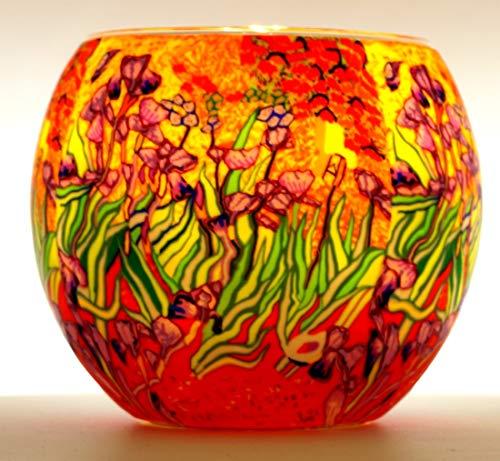 CBK-MS. Leuchtglas Lilien Teelicht Windlicht Blumen Wiese Blumengarten