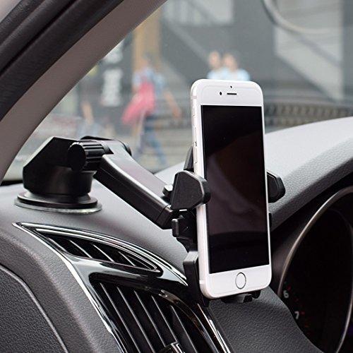 ELV Car Mount Adjustable Car Phone Holder Universal Long Arm, Windshield for Smartphones – Black