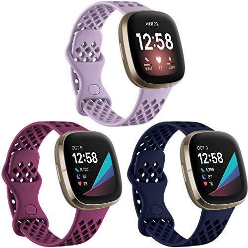 Ouwegaga Compatible for Fitbit Sense and Fitbit Versa 3 Bands,Waterproof Sport TPU with Breathable Holes for Fitbit Versa 3/ Fitbit Sense Smart Watch Lavender Fuchsia Navy Blue Small 3 Packs