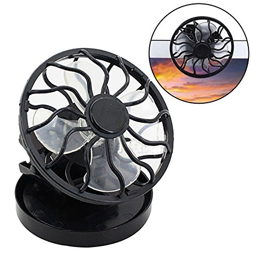 Solar Mini Fan,Tragbarer Clip auf dem Cell Fan Sun,Sommer Solar Power Energy Panel Kühler,für Sport Travel Beach - Panel Größe: 55mm, Lüfterdurchmesser: 60mm (Schwarz)