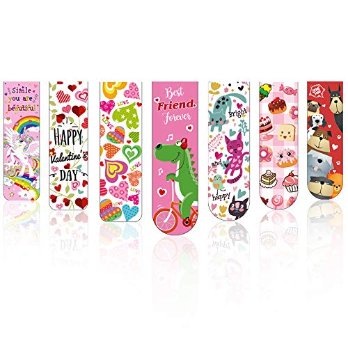 28 Pcs Valentine's Day Magnetic Bookmarks with 7 Cute Designs, Perfect for Valentine's Day Gift, Classroom Rewards Incentives for Kids Women Students Valentine Party Favors