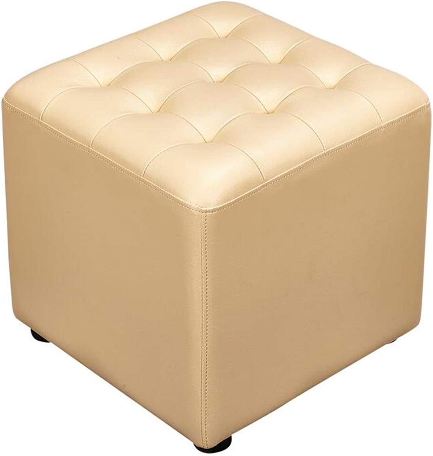 Pouffes and Footstools PU, Change shoes Home Small Stool Comfortable Cushion Load Capacity 150kg, 5 colors ( color   Beige , Size   40X40X40CM )