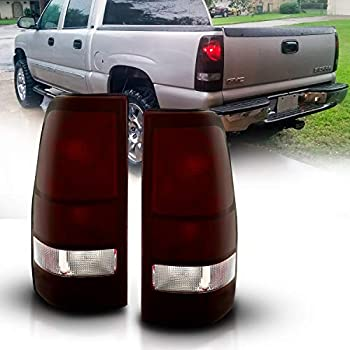 AmeriLite Dark Red Replacement Brake Tail Lights For 1999-2002 Chevy Silverado   99-06 GMC Sierra - Passenger Right and Driver Left Side