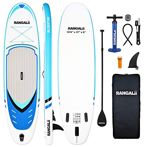 """RANGALii 10'6"""" Foot Inflatable SUP Stand Up Paddle Board(31"""" Wide, 6"""" Thick) Durable with Adjustable Paddle, Backpack, Pump and Leash (Lake Blue)"""