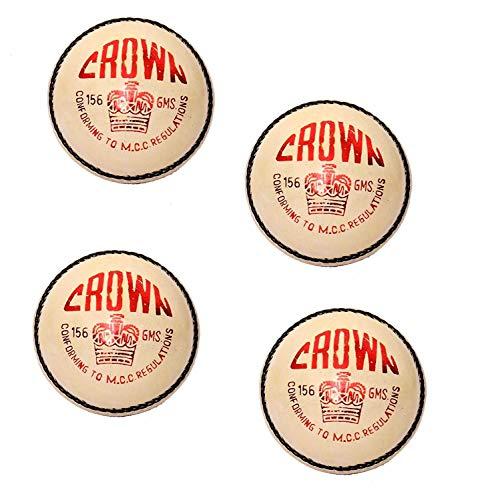 CW Crown White Cricketball II Pure Leather Ball II Handstich 4 Stück Bälle