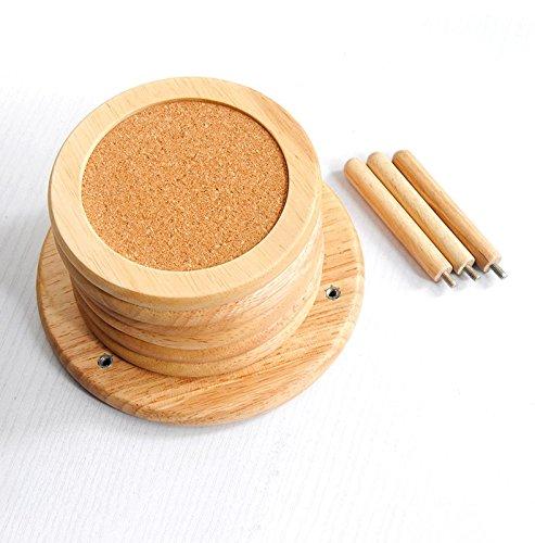 Coaster caoutchouc solide bois coaster isolant pad grand bois européen créatif plateau de thé thé coaster bol mat plus doux bois grands sous-verres (Color : Wood color, Size : 14 * 14 * 8.3cm)
