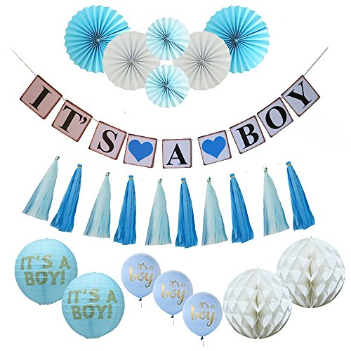 Baby Shower Decoration for Boy Kit, 31 Piece Ultimate Set, Baby Boy Decorations, It