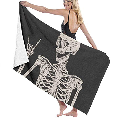 Toalla de playa Rock and Roll Skull Toalla de baño de gran tamaño para ducha de adultos, manta portátil para barco, deportes, tela 80 x 130 cm