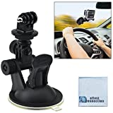 Car Windshield Dashcam Mount for GoPro HERO1, HERO2, HERO3, HERO3+, HERO4, HERO4 Session, HERO5, Hero 6, Fusion Cameras w/Suction Cup + eCostConnection Microfiber Cloth