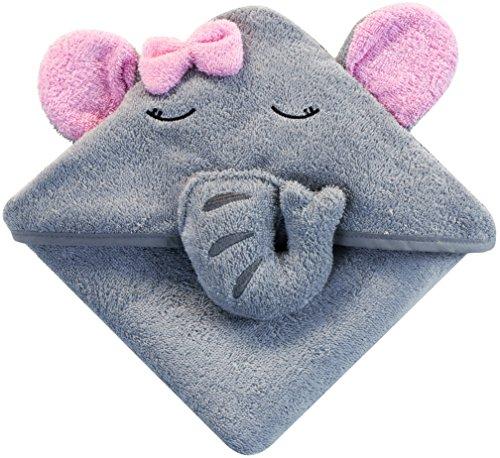 Baby Kapuzenhandtuch mit Elefant (grau/rosa) I 75x75 cm I Frottee Kapuzenbadetuch I Babyhandtuch mit Kapuze aus 100% Baumwolle I Geschenk zur Geburt I Kinderhandtuch