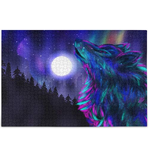 Oarencol Animal Wolf Moon Forest Star Jigsaw Puzzle 500 Piezas Galaxy Aurora Borealis Rompecabezas para adultos y niños, Multicolor, 1000 pieces