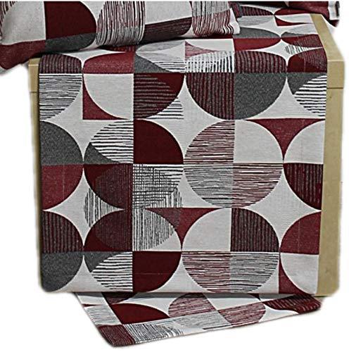 Hossner Tischdecke Tischläufer Decke Läufer Tisch Deko Melanie Bordeaux Kreise (50 x 150 cm)