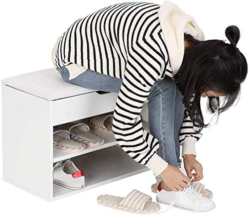 ZCYY Pasillo Zapatero Banco de Cambio de Zapatos, Gabinete de Madera para Zapatos Blanco Zapatero con cajón y cojín de Asiento, Banco de Madera de 3 Niveles para Zapatos, Blanco