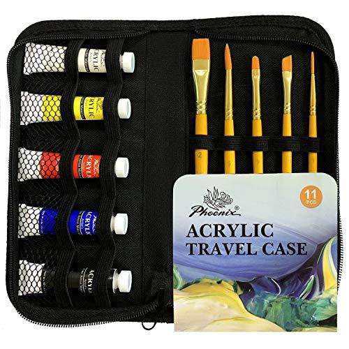 PHOENIX Acrylic Paint Set with Zip Carry Case - Paint and Brush Set Travel Pack with 5 Nylon Brushes & 5 Tubes of Acrylic Paints