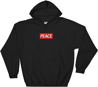 Peace Red Logo Box Hooded Sweatshirt - Bogo Supreme Inspired