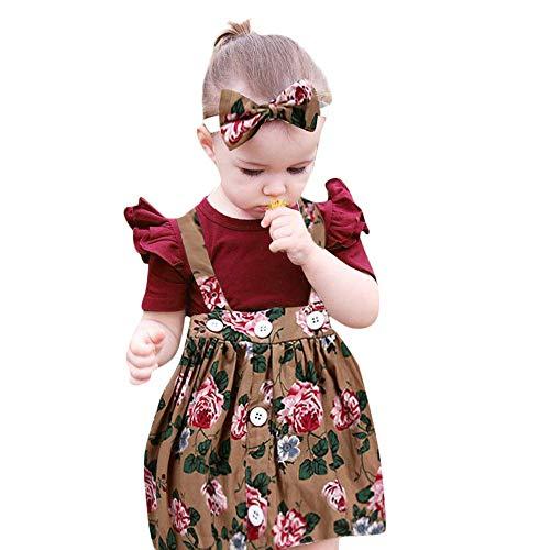 Mädchen Kleider Festlich, Weant Baby Kleidung Mädchen Outfits Solide Tops + Floral Kleider Sets FüR Kinder Mädchen Kleidung Partykleid Chiffon Kleid Baby Tägliche Kleidung Pullover