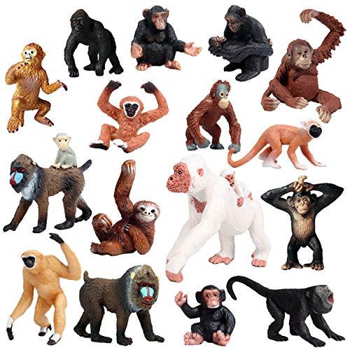 JOKFEICE Figuras de Animales 16 pcs Realista Plástico Familia de Monos Incluye Chimpancé,...