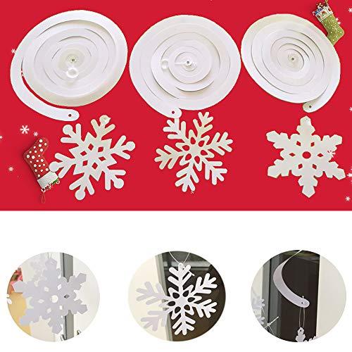 kungfu Mall 30 PCS Christmas Snowflake Hanging Swirl Ornaments (5packs) per Decorazioni Natalizie, Ornamenti a soffitto, Decorazioni per Feste di Capodanno