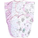 Pucksack Baby Wickel-Decke für 0-3 Monate 3er Pack mit verstellbaren Flügeln, 100% Premium Baumwolle Schlafsack für Neugeborene, Säuglinge und Kleinkinder, Universal Decke für Mädchen