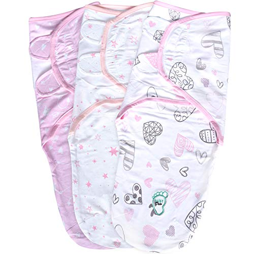 Baby Swaddle Wrap Blanket for Newborn amp Infant 03 Month Swaddlers Sack with Adjustable Wings 3 Pack Breathable Sleep Wrap Sack for Girls Blush