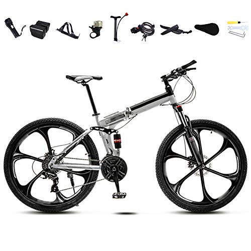 YRYBZ 24 Pulgadas 26 Pulgadas Bicicleta de Montaña Unisex, Bici MTB Adulto, Bicicleta MTB Plegable, 30 Velocidades Bicicleta Adulto con Doble Freno Disco/Blanco/B Wheel / 24'