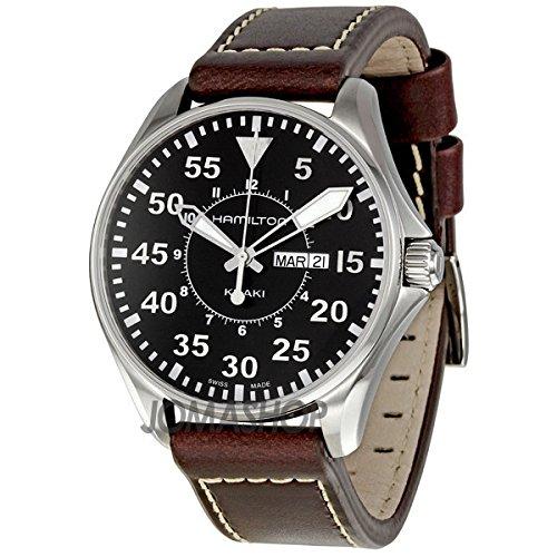 Gifts and Jewels Co. Hamilton Hamilton kaki Aviazione Pilota Nero Quadrante Mens Orologio H64611535