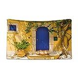 ABAKUHAUS Giallo e Blu Tappeto da Parete e Copriletto, Greek House, più Tecnologia Moderna Digitale, 230 x 140 cm, Multicolore
