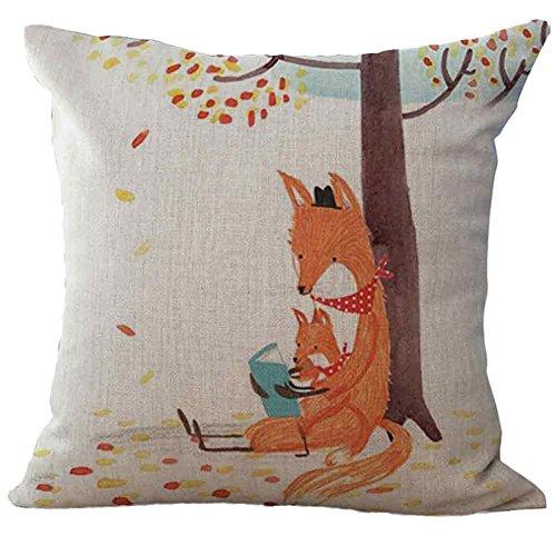 Nuohuilekeji 45,7 cm Dessin animé Fox Motif Housse de Coussin en Lin Couvre-lit Taie d'oreiller Décoration de Maison, Multicolore, C*
