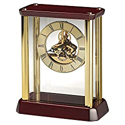 MISC Transitional Classic and Bold Statement Table Clock with Skeleton Movements De Wood Battery Included