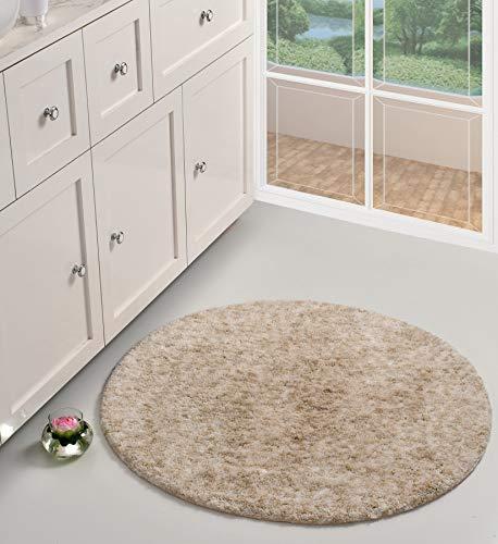 UMI by Amazon Melange Shag - Alfombra de baño de microfibra de poliéster, antideslizante, para sala de estar, dormitorio, baño, cocina y entrada, 90 cm, multicolor beige