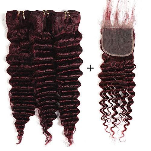 XCCOCO #99j Deep Wave 3 Bundles with Lace Closure Peruvian Cheap Virgin Remy Wine Red Deep Curly Human Hair Weave Extensions with 4x4 Lace Top Closure(10 10 12+10inch Closure)