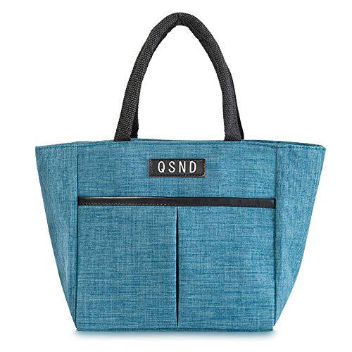 Insulated Lunch Bag Tote Bag,Lunch Box with Front Pocket for Man,Best Gift for Women for Work Office Picnic or Travel Picnic(Blue)