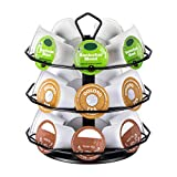 Flagship K cup Holder Carousel 3 Tier for Keurig Pod Holder Metal DIY Install Small for K-cup Storage Stand 21 K Pod Storage
