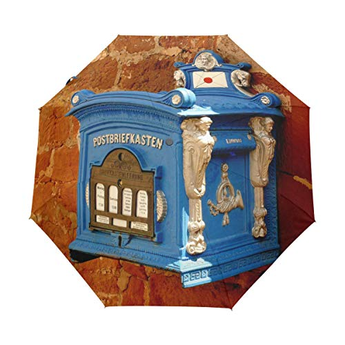 MONTOJ Blauer Briefkasten an der Wand 3-Fach faltbar Reise-Regenschirm UV-Schutz mit automatischer Öffnung Taste