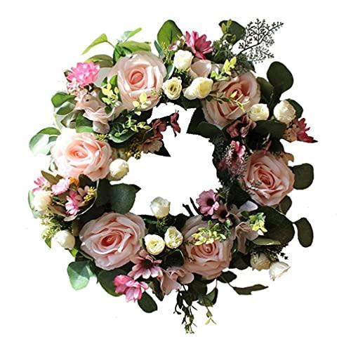 LjzlSxMF Guirnalda Floral Artificial de la Puerta de la Guirnalda de Rose romántica Simulación de la Guirnalda de la Boda de la decoración de la Fiesta (42cm / 16.54inch Rosa Claro)