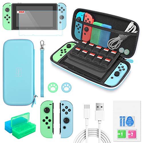 Auarte Tasche und Zubehör Set Kompatibel mit Nintendo Switch, 12-in-1 Upgraded Case Kit mit Tragetasche und Zubehör, EIN Super Set Kompatibel mit Animal Crossing (Blau)