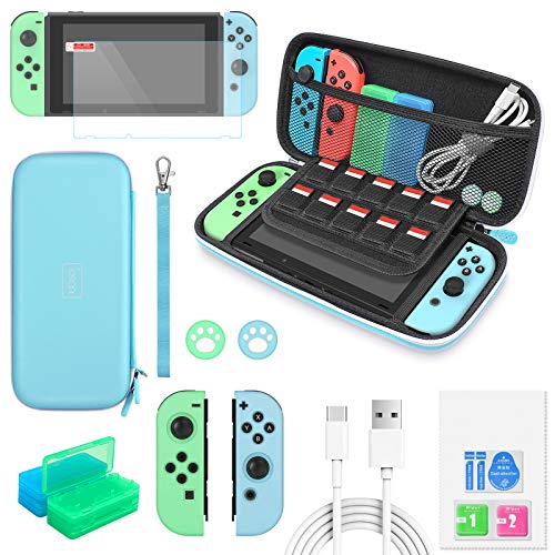 Switch Accessories Bundle - 12 in 1 Protection Kits for Nintendo Switch Animal Crossing with Switch Carrying Case, JoyCon Covers, Screen Protector, Thumb Grips, Game Card Cases & USB Cable, Light Blue