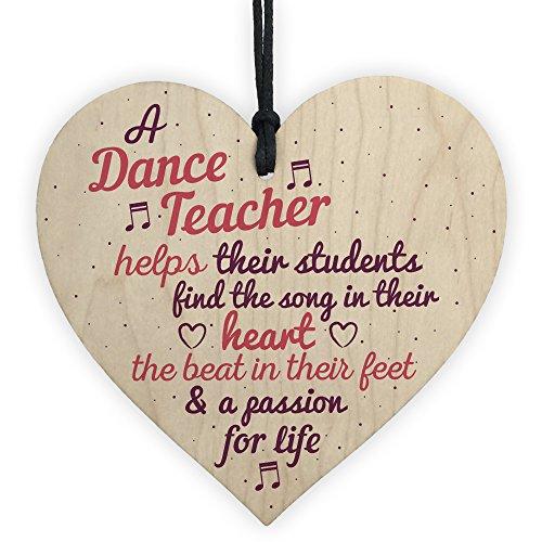 RED OCEAN Handmade Wooden Heart Thank You Dance Teacher Gift Special...